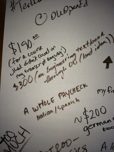 written comments from students about textbook costs.